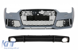 Front Bumper with Rear Diffuser Black and Exhaust Tips suitable for Audi A7 4G Facelift (2015-2018) RS7 Design Only S-Line