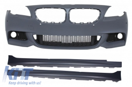 Front Bumper with Side Skirts suitable for BMW F10 F11 5 Series (2011+) M-Technik Design Without Fog Lamps - COCBFBBMF10MTPDCWF