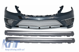 Front Bumper with Side Skirts suitable for Mercedes S-Class W222 (2013-06.2017) S65 Design - COFBMBW222AMGS65SS