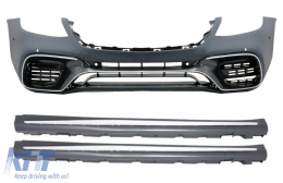 Front Bumper with Side Skirts suitable for MERCEDES S-Class W222 Facelift Long Version (2017-up) S63 Design - COFBMBW222AMGS63FSS
