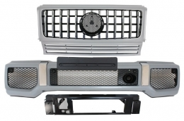 Front Bumper with Silver Grille suitable for MERCEDES G-Class W463 (1989-2017) G63 GT-R Panamericana Design - COFBMBW463AMGGTRC
