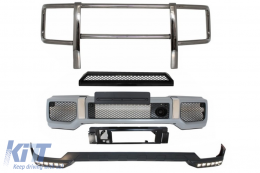Front Bumper with Spoiler LED DRL Upper Spoiler Lip and BullBar suitable for MERCEDES G-Class W463 (1989-2017) G65 Design - COFBMBW463AMGBBB