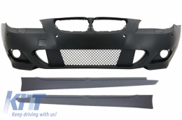 Front Bumper without Fog Lights Side Skirts BMW 5 Series Non-LCI E60/E61 2003-2007 M-Technik Design - COFBBME60MTP24WFSS