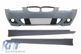 Front Bumper without Fog Lights Side Skirts BMW 5 Series LCI E60/E61 2007-2010 M-Technik Design - COFBBME60MTP18WFSS