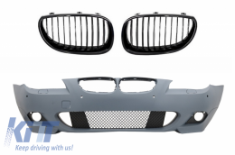 Front Bumper without Fog Lights with PDC 18mm Frontal Grille BMW 5 Series E60 07-10 M-Technik Design - COFBBME60MTP18WFPB