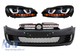 Front Bumper  suitable for VW Golf VI 6 (2008-2013) GTI Look with Headlights Golf 7 3D LED DRL U-Design LED Flowing Turning Light Red Stripe GTI - COFBVWG6GTIPDCHL