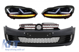 Front Bumper  suitable for VW Golf VI 6 (2008-2013) GTI Look with Headlights Osram Xenon Upgrade Red GTI LED Dynamic Sequential Turning Lights - COLEDHL102GTIFB