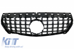 Front Central Grille suitable for MERCEDES CLA C117 X117 W117 (2013-2018) CLA45 GT-R Panamericana Design All Black - FGMBW117GTRB