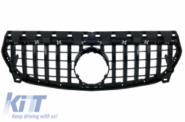 Front Central Grille suitable for Mercedes CLA C117 X117 W117 Facelift (2016-2018) CLA45 GT-R Panamericana Design Full Black - FGMBW117FGTRBCN