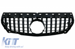 Front Central Grille suitable for Mercedes CLA C117 X117 W117 (2013-2016) CLA45 GT-R Panamericana Design All Black - FGMBW117GTRBCN