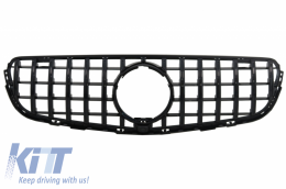 Front Central Grille suitable for MERCEDES GLC X253 C253 (2015-2018) AMG GT R Panamericana Design All Black - FGMBX253GTRBWH