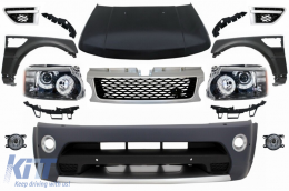Front Conversion suitable for Land Range ROVER Sport L320 (2005-2013) Autobiography Design Bumper Headlights Hood and Fenders - COFBRRSAHLHDG
