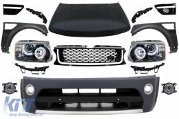 Front Conversion suitable for Land Range ROVER Sport L320 (2005-2013) Autobiography Design Bumper Headlights Hood and Fenders - COFBRRSAHLHDGBB