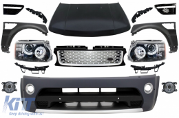 Front Conversion suitable for Land Range ROVER Sport L320 (2005-2013) Autobiography Design Bumper Headlights Hood and Fenders - COFBRRSAHLHDGFBS