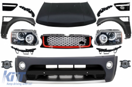 Front Conversion suitable for Land Range ROVER Sport L320 (2005-2013) Autobiography Design Bumper Headlights Hood and Fenders - COFBRRSAHLHDGFBR