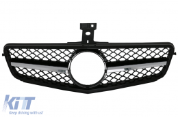 Front Grille Mercedes Benz C-Class C63 AMG Design W204 S204 Limousine Station Wagon (2007-2014) Sport Black Glossy
