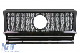 Front Grille Mercedes G-Class W463 (1990-2014) New G63 GT-R Panamericana Design All Piano Black - FGMBW463GTRB