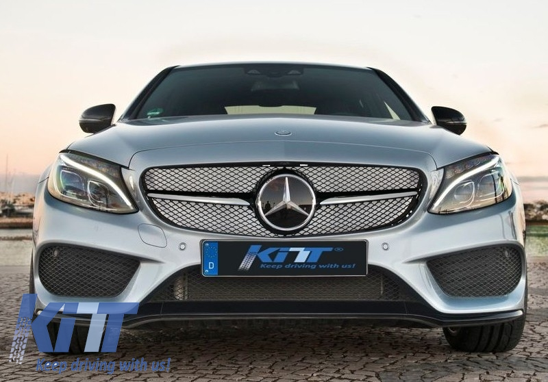 Front grille mercedes w205 c class 2014 up amg design for Mercedes benz c300 grill