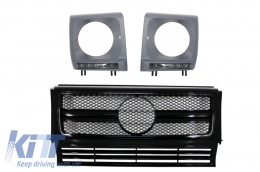Front Grille Mercedes W463 G-Class (1990-2012) New G63 G65 AMG Look Piano Black Chrome Edition - COFGMBW463AMGBB