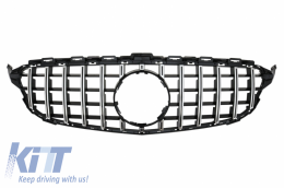 Front Grille suitable for MERCEDES C-Class W205 S205 C205 A205 (2014-2018) AMG GT-R Panamericana Design Without Camera - FGMBW205GTRWOC