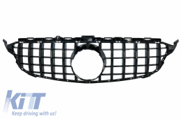 Front Grille suitable for Mercedes C-Class W205 S205 C205 S205 (2014-2018) AMG GT-R Panamericana Design Black Without Camera - FGMBW205GTRWOCBCN