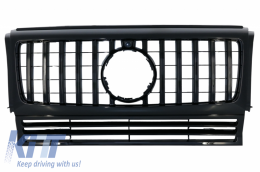 Front Grille suitable for Mercedes G-Class W463 (1990-2014) New G63 GT-R Panamericana Design All Black - FGMBW463GTRBCN