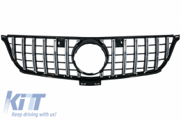 Front Grille suitable for Mercedes ML-Class W166 (2012-2014) GT-R Panamericana Design Black Chrome - FGMBW166GTRCN