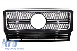 Front Grille suitable for MERCEDES W463 G-Class (1990-2012) New G65 AMG Look Piano Black with Chrome Frame Edition - FGMBW463AMGB