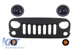 Front Grille with CREE LED Headlights Angel Eye and Turn Signal Light suitable for Jeep Wrangler Rubicon JK 2007-2017 - COHLU7INCHBFG