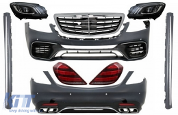 Full Convesion Body Kit suitable for MERCEDES S-Class W222 Facelift (2013-Up) S63 A-Design with LED Sequential Dynamic Turning Lights - COCBMBW222AMGS63FHGSS