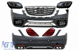 Full Convesion Body Kit suitable for MERCEDES S-Class W222 Facelift (2013-Up) S63 A-Design with LED Sequential Dynamic Turning Lights - COCBMBW222AMGS63FHG