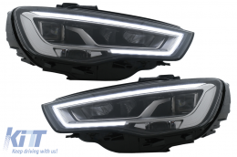 Full LED Headlights suitable for Audi A3 8V Pre-Facelift (2013-2016) Upgrade for Halogen with Sequential Dynamic Turning Lights LHD - HLAUA38V