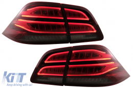 Full LED LightBar Taillights suitable for Mercedes M-Class W166 (2012-2015) Red White LHD - TLMBW166LED