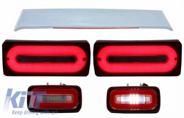 Full LED Taillights Light Bar RED Dynamic Sequential Turning Lights with Fog Lamp and Roof Spoiler suitable for MERCEDES Benz G-class W463 (1989-2015) - COTLMBW463LBRRS