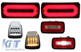 Full LED Taillights Light Bar with Fog Lamp and Turning Lights White Clear Lens suitable for MERCEDES Benz G-class W463 (1989-2015) Red Dynamic Sequential Turning Lights - COTLMBW463LBRFLTRC