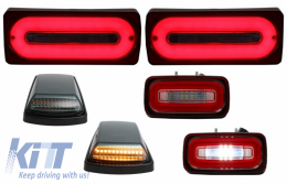 Full LED Taillights Light Bar with Fog Lamp and Turning Lights Smoked suitable for MERCEDES Benz G-class W463 (1989-2015) Red Dynamic Sequential Turning Lights - COTLMBW463LBRFLTRMS