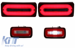 Full LED Taillights Light Bar with Fog Lamp suitable for MERCEDES Benz G-class W463 (1989-2015) RED Dynamic Sequential Turning Lights - COTLMBW463LBRFL