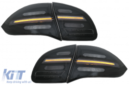 FULL LED taillights suitable for Porsche Cayenne 958 E2 92A Prefacelift (2010-2014) Black Smoke with Dynamic Indicators - RPO06SLBSRY