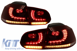 FULL LED Taillights suitable for VW Golf 6 VI (2008-2013) R20 Design Dynamic Sequential Turning Light Cherry Red (LHD and RHD) - TLVWG6R20RCFW