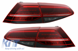 Full LED Taillights suitable for VW Golf 7 & 7.5 VII (2012-2019) Facelift Retrofit G7.5 Look Dynamic Sequential Turning Lights Dark Cherry Red - TLVWG7F