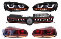 Grille suitable for VW Golf 6 VI 08-12 Headlights LED DRL U-Design and Taillights Full LED - COHLVWG6URGTI