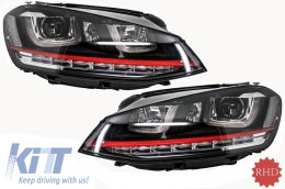 Headlights 3D LED DRL suitable for VW Golf 7 VII (2012-2017) RED R20 GTI Look LED Flowing Dynamic Sequential Turning Lights RHD