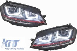 Headlights 3D LED DRL Volkswagen Golf 7 VII RHD (2012-up) RED R20 GTI Look LED Turn Light
