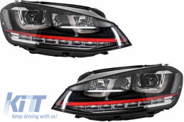 Headlights 3D LED DRL Volkswagen Golf 7 VII (2012-up) RED R20 GTI Look LED Turn Light