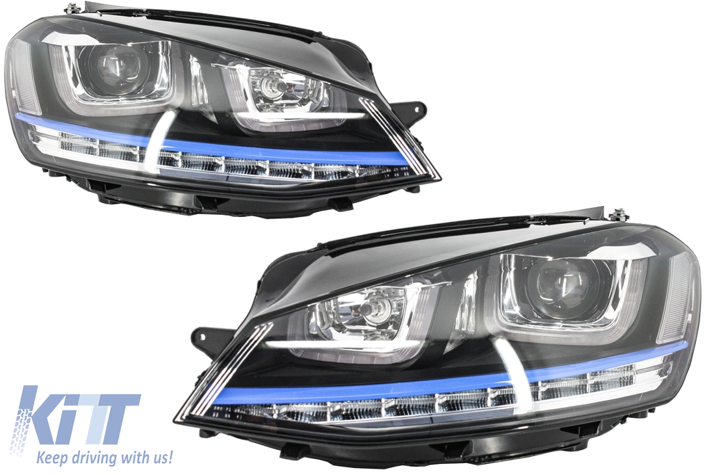 headlights 3d led drl volkswagen golf 7 vii 2012 2017 blue gte look led turn light. Black Bedroom Furniture Sets. Home Design Ideas