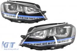 Headlights 3D LED DRL Volkswagen Golf 7 VII (2012-up) Blue GTE Look LED Turn Light for RHD
