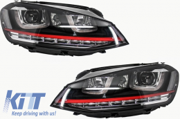 Headlights 3D LED DRL Volkswagen Golf 7 VII (2012-up) RED R20 GTI Look LED FLOWING Turn Light