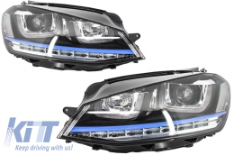 Headlights 3D LED DRL Volkswagen Golf 7 VII (2012-up) Blue GTE Look LED FLOWING Dynamic Sequential  Turn Light