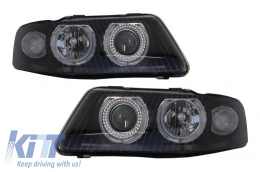 Headlights Angel Eye suitable for AUDI A3 8L (2000-2003) Black