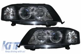 Headlights Angel Eye suitable for AUDI A6 C5 Allroad (Typ 4B) (1999-2004) RHD / LHD Drive Black - SWA09ADB